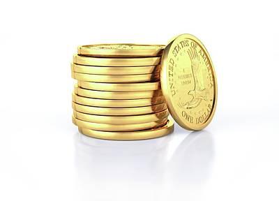 Us Dollar Coins Art Print by Leonello Calvetti