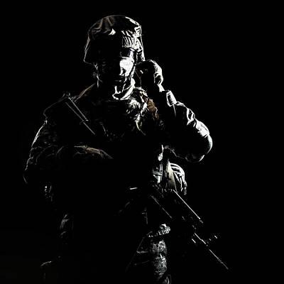 Photograph - U.s. Marine Raider Armed With Carbine by Oleg Zabielin