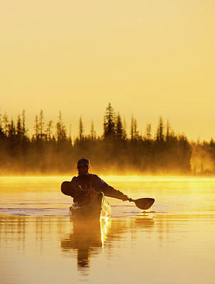 Model Released Photograph - Usa, Oregon A Woman In A Sea Kayak by Gary Luhm