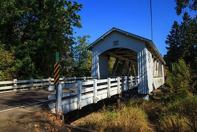 Crabtree Falls Photograph - Usa, Oregon, Scio, The Larwood Bridge by Rick A Brown