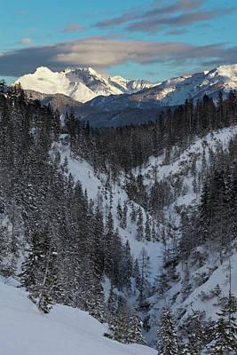 Valley Gaistal With Snow During Deep Art Print