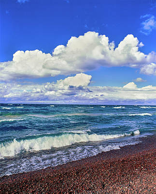 Alger Photograph - View Of Lakeshore Against Cloudy Sky by Panoramic Images