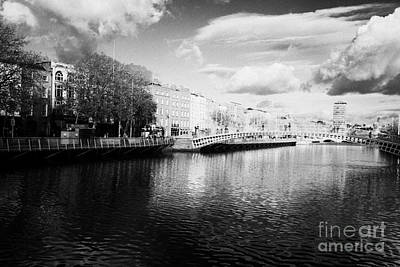Hapenny Photograph - View Of The River Liffey And Hapenny Bridge Dublin Republic Of Ireland by Joe Fox