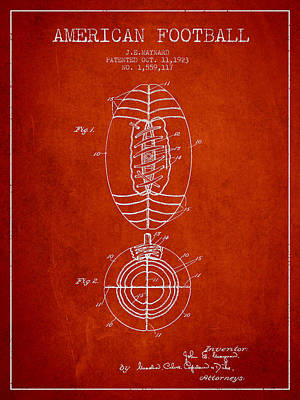 Football Royalty-Free and Rights-Managed Images - Vintage American Football Patent Drawing from 1923 by Aged Pixel