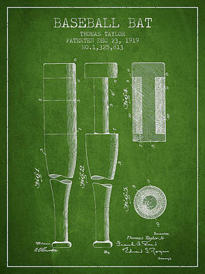 Softball Digital Art - Vintage Baseball Bat Patent From 1919 by Aged Pixel