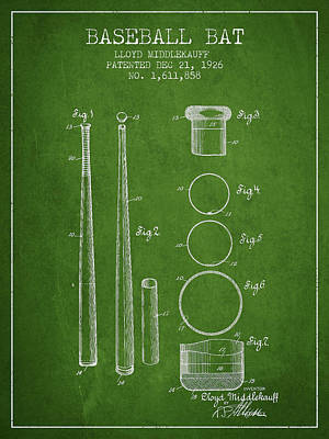 Baseball Royalty-Free and Rights-Managed Images - Vintage Baseball Bat Patent from 1926 by Aged Pixel