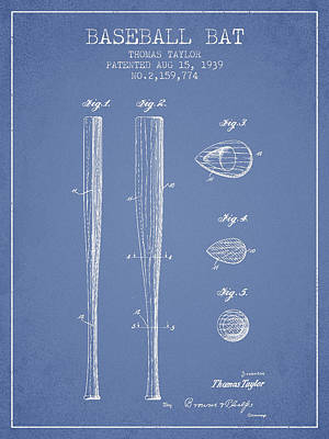 Baseball Royalty-Free and Rights-Managed Images - Vintage Baseball Bat Patent from 1939 by Aged Pixel