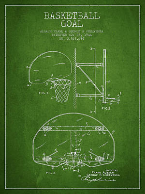 Basketball Goal Patent Digital Art - Vintage Basketball Goal Patent From 1944 by Aged Pixel