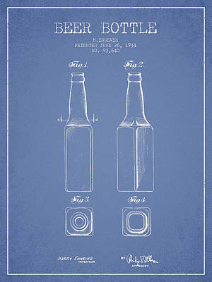 Glass Wall Digital Art - Vintage Beer Bottle Patent Drawing From 1934 - Light Blue by Aged Pixel