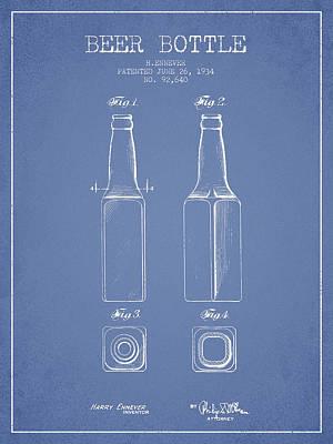 Glass Bottle Digital Art - Vintage Beer Bottle Patent Drawing From 1934 - Light Blue by Aged Pixel