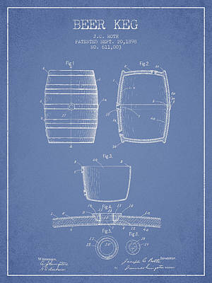 Beer Royalty-Free and Rights-Managed Images - Vintage Beer Keg Patent Drawing from 1898 - Light Blue by Aged Pixel