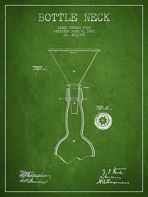 Glass Bottle Digital Art - Vintage Bottle Neck Patent From 1891 by Aged Pixel