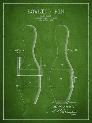 Bowling Digital Art - Vintage Bowling Pin Patent Drawing From 1938 by Aged Pixel