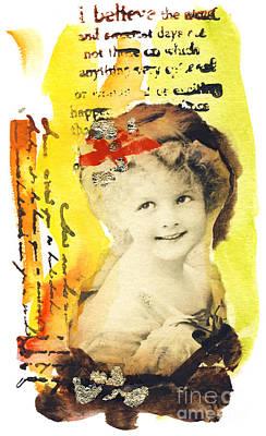 Joy Mixed Media - Vintage-card by Ira Ivanova