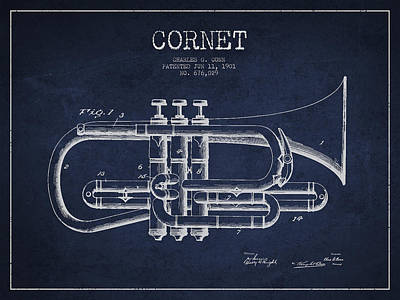 Music Drawing - Vintage Cornet Patent Drawing From 1901 by Aged Pixel