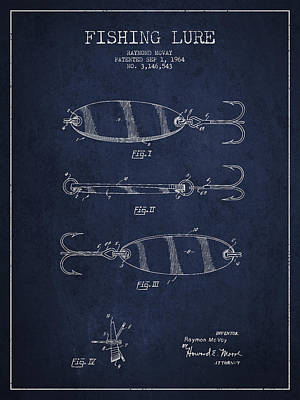Fishing Bait Digital Art - Vintage Fishing Lure Patent Drawing From 1964 by Aged Pixel