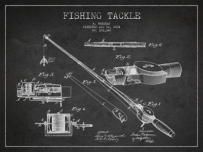 Vintage Fishing Tackle Patent Drawing From 1884 Art Print
