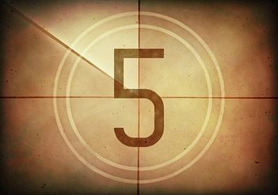 Number 5 Photograph - Vintage Movie Countdown by Ktsdesign