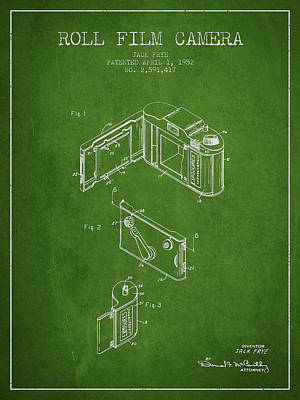 Video Digital Art - Vintage Roll Film Camera Patent From 1952 by Aged Pixel