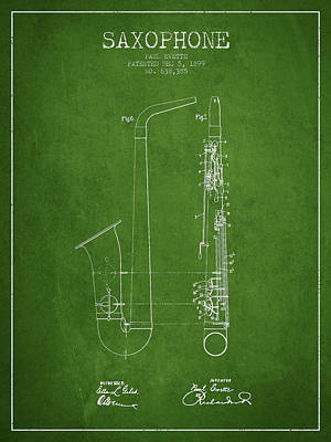Saxophone Digital Art - Saxophone Patent Drawing From 1899 - Green by Aged Pixel