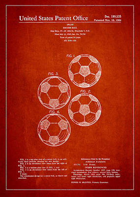 Vintage Soccer Ball Patent Drawing From 1964 Art Print
