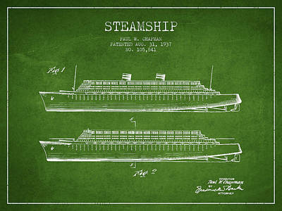 Steam Engine Digital Art - Vintage Steamship Patent From 1937 by Aged Pixel