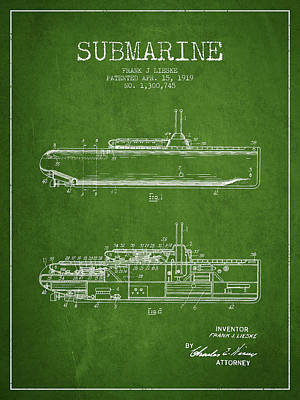 State Word Art - Vintage Submarine patent from 1919 by Aged Pixel