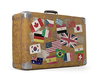 Sticker Photograph - Vintage Suitcase With Stickers by Ktsdesign