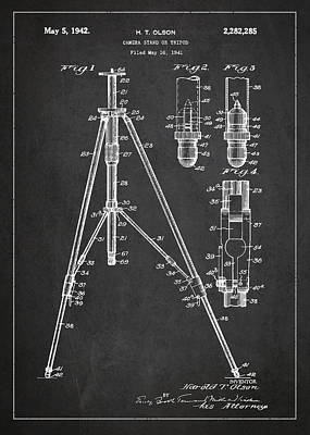 Camera Digital Art - Vintage Tripod Patent Drawing From 1941 by Aged Pixel