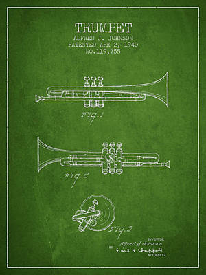 Music Digital Art - Vintage Trumpet Patent From 1940 - Green by Aged Pixel