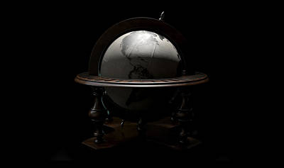 Vintage Wooden World Globe Art Print