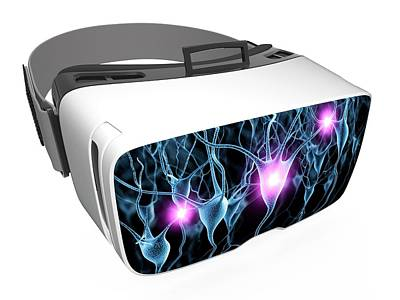 Virtual Reality Headset In Science Art Print by Alfred Pasieka/science Photo Library