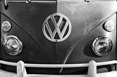 Car Photograph - Volkswagen Vw Bus Front Emblem by Jill Reger