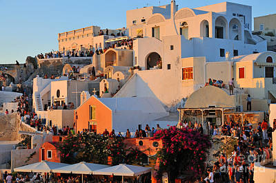 Town Photograph - Waiting For The Sunset In Oia Town by George Atsametakis