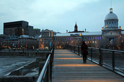Old Montreal Photograph - Walking Alone by Munir Alawi