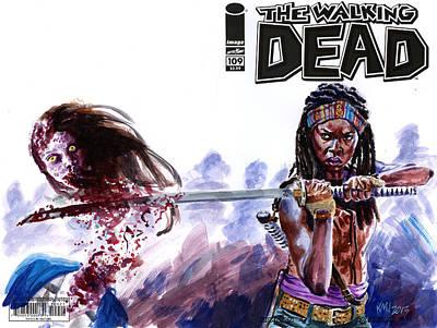 Danai Gurira Painting - Walking Dead Michonne by Ken Meyer