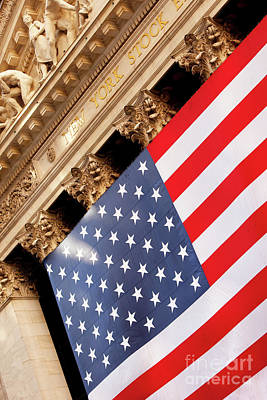 Photograph - Wall Street Flag by Brian Jannsen
