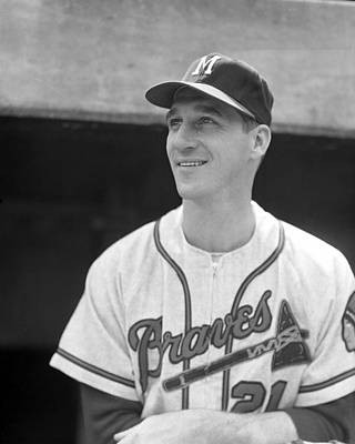 Hands Images Photograph - Warren Spahn by Retro Images Archive
