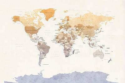 Watercolour Political Map Of The World Art Print