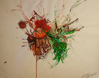 Abstract Expressionism Drawing - Wet Dinosaurs by Nickolas Kossup