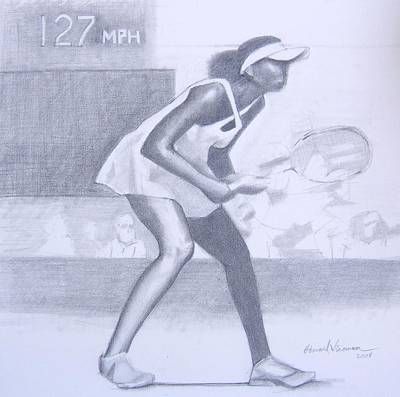 Wimbleton Drawing - Williams At Wimbleton by Howard Stroman