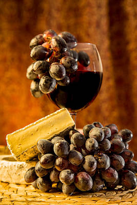 Photograph - Wine And Brie Cheese by Peter Lakomy