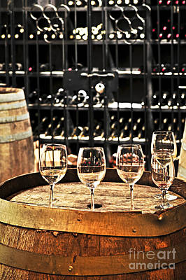 Winery Photograph - Wine Glasses And Barrels by Elena Elisseeva