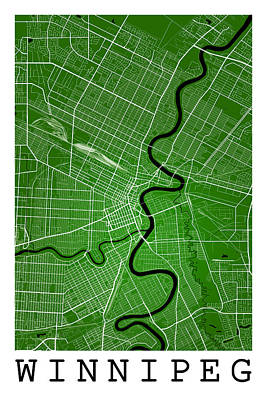 City Map Digital Art - Winnipeg Street Map - Winnipeg Canada Road Map Art On Colored Ba by Jurq Studio