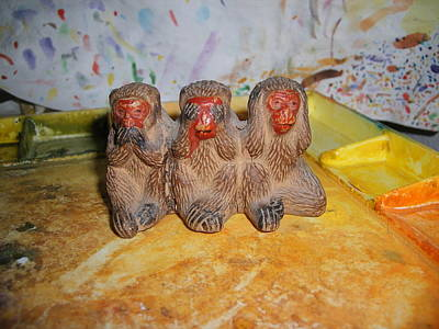 Photograph - 3 Wise Monkeys Watercolor Pallet by Jim Taylor