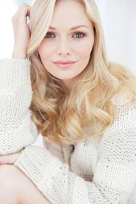 Wavy Hair Photograph - Woman Wearing Sweater by Ian Hooton