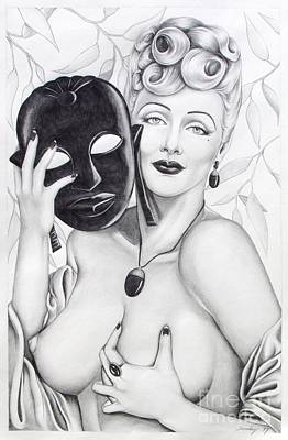 Drawing - Woman With Mask by Joseph Sonday