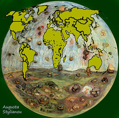 Digital Art - World Map And Earth by Augusta Stylianou