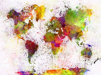 Abstract Earth Map Painting - World Map In Watercolor  by Pablo Romero