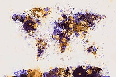 World Map Paint Splashes Art Print by Michael Tompsett